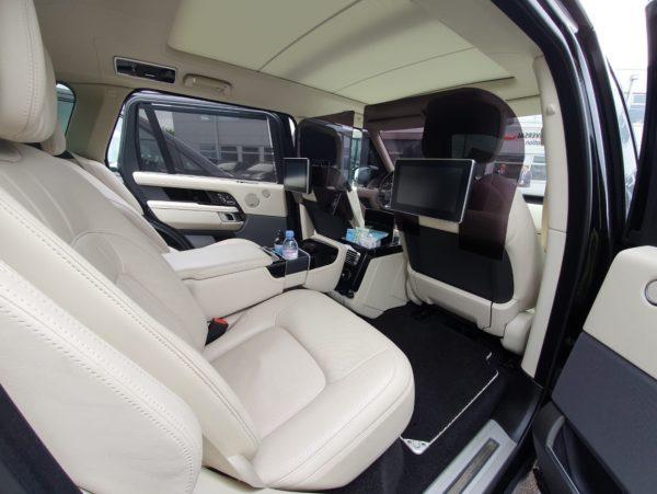 Black Range Rover Autobiography Covid-19 Partition